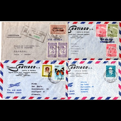 Venezuela 1951/65, 4 Luftpost Briefe n. Europa, dabei ein Einschreiben