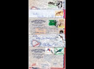 Uruguay 1963/70, 5 Luftpost Briefe n. Deutschland, dabei 2 Einschreiben