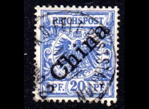 DP China 4 I, 20 Pf. Schrägaufdruck m. zentr. Stpl. K.D. FELDPOSTSTATION No.2
