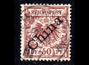 DP China 6 I, 50 Pf. Schrägaufdruck m. zentr. Stpl. K.D. FELDPOSTSTATION No.7