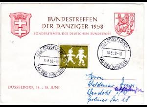 BRD 1958, BUNDESTREFFEN DER DANZIGER, Ereigniskarte m. Düsseldorf Sonderstempel