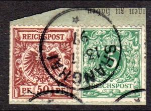 DP China V46, V50, DR 5+50 Pf. auf Vorläufer Briefstück m. Stpl. SHANGHAI
