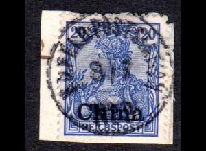 DP China 18, 20 Pf. auf kl. Briefstück m. Stpl. K.D. FELDPOSTSTATION No.9