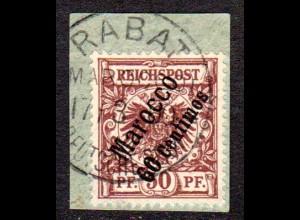 DP Marokko 6, 60 C./50 Pf. auf Briefstück m. Stempel RABAT