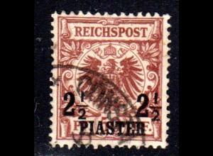DP Türkei 10, 2 1/2 Pia./50 Pf. m. sauberem Eckstempel.