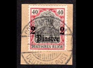 DP Türkei 29, 2 Pia./40 Pf. auf schönem Briefstück m. Stpl. Constantinolpel DP.