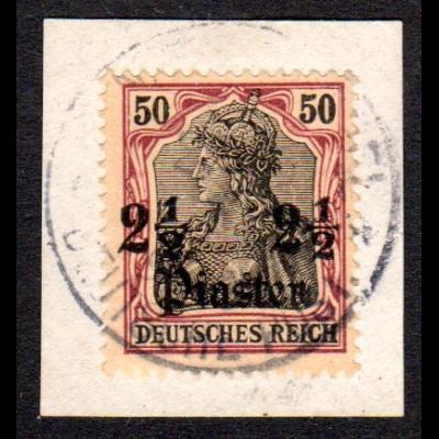 DP Türkei 30, 2 1/2 Pia./50 Pf. auf schönem Briefstück m. Stpl. Constantinolpel.