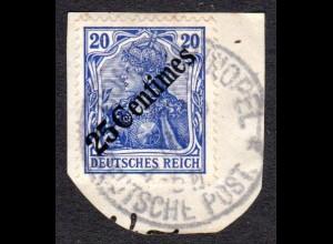 DP Türkei 50, 25 Centimes/20 Pf. auf schönem Briefstück m. K1 Constantinolpel DP