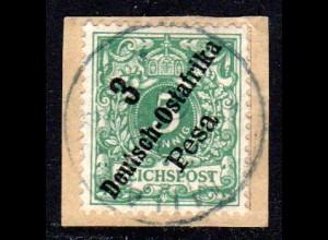 DOA 7, 3 P./5 Pf. auf Briefstück m. blauschwarzem Stempel MUANZA 9/6/00