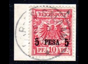 DOA 3 I, 5 P./10 Pf. auf Briefstück m. Stempel Dar-Es-Salaam 2/5/96
