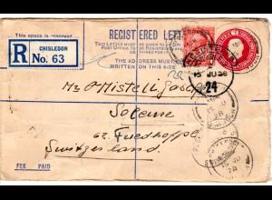GB 1928, 1d Zusatzufr. auf 4 1/2d Reko-Ganzsache Brief v. Chisledon i.d. Schweiz