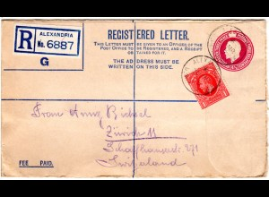 GB 1935, 1d Zusatzfr. auf 4 1/2d Reko-Ganzsache Brief v. Alexandria i.d. Schweiz