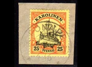 Karolinen 11, 25 Pf. auf schönem Briefstück m. Stpl. PONAPE.
