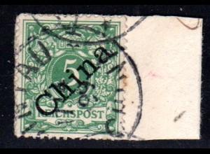 Kiautschou V 2 I, 5 Pf. m China Diagonalaufr. auf Briefstück m. Stpl. TSINGTAU