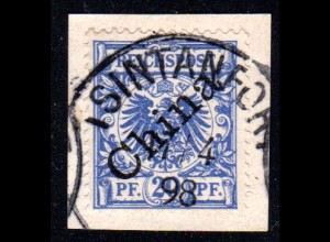 Kiautschou V 5 I, 25 Pf. m. China-Aufdruck auf Briefstück u. Stpl. TSINTANFORT