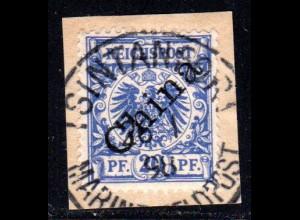 Kiautschou V 4 I, 20 Pf China auf Briefstück m. Stpl. TSINTANFORT MARINEFELDPOST