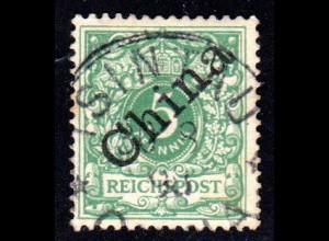 Kiautschou V 2 I, 5 Pf China Schrägaufdruck m. Stempel TSINGTAU
