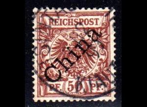 Kiautschou V 6 I, 50 Pf China Schrägaufdruck m. Stempel TSINGTAU