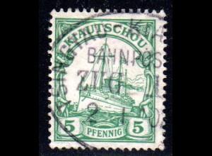 Kiautschou, 5 Pf. m. klarem Stempel TSINGTAU-KIAUTSCHOU BAHNPOST ZUG 1