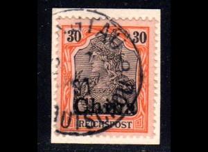 DP China, 30 Pf. auf Briefstück m. Kiautschou Stempel TSINGTAU 2/7/01