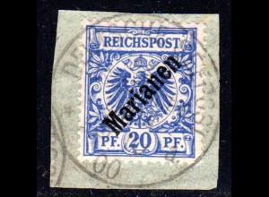 Marianen 4 I, 20 Pf. Schrägaufdruck auf Briefstück m. Stempel DEUTSCHE SEEPOST