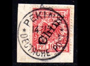 DP China 3 II, 10 Pf. Steilaufdruck auf Briefstück m. Stempel Peking 14/12/00