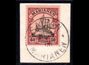 Marianen, 50 Pf. auf schönem Briefstück m. Stempel SAIPAN
