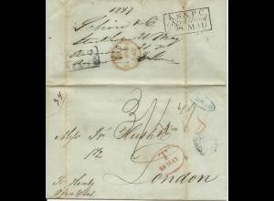 Schweden 1847, KSNPC Stralsund + Hamburg rs. auf Brief v. Stockholm n. GB. #1487