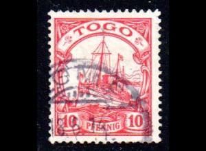 Togo 22, 10 Pf. m. WZ u. Stempel LOME. (Kat. 130 €). Geprüft.