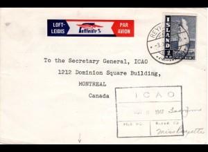 Island 1947, 1 Kr. on card to Canada with Loftleidir Air Mail label