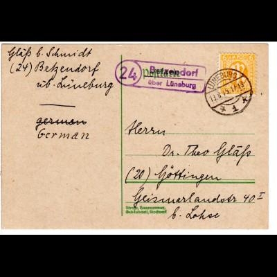 1945, Landpost Stpl. 24 BETZENDORF über Lüneburg auf früher Karte m. 6 Pf.