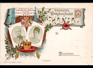 DR Private Stadtpost Dresden 1891, ungebr. 3 Pf. Hansa Sonderkarte