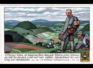 Österreich 1918, Schlesien Farb-AK m. Soldaten u. 10 H. ab MELTSCH (MELC)