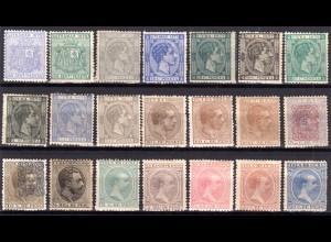 Cuba ca.1875/95, 21 ungebr. alte Marken incl. 2x20 C. Alfonso