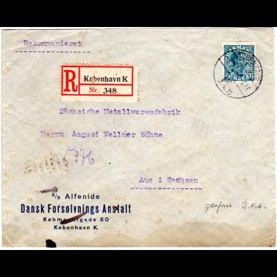 Dänemark 1926, EF 60 öre m. perfin auf Reko-Brief v. Kopenhagen n. Deutschland.