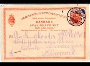 Dänemark P 131 A, 10 öre Antwortkarte, 1913 zurückgebraucht v. Bremerhaven