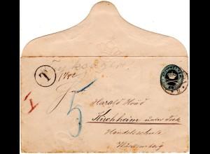 Dänemark 1895, 4 öre Ganzsache Brief als Drucksache v. Kopenhagen n. Württemberg