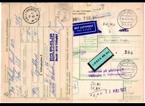 BRD 1972, Paketkarte v. LORCH m. Schweden Porto-Etikett u. EG Export Aufkleber