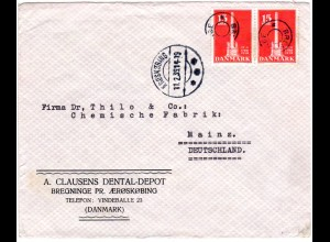 Dänemark 1939, Sternstempel BREGNINGE auf Brief m. Paar 15 öre v. AERÖSKÖBING