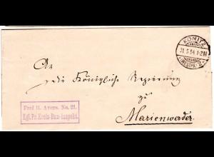 DR 1894, Frei lt Avers No.21 Kreis-Bau-Insp. auf Brief v. KONITZ n. Marienwerder