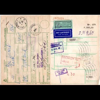 BRD 1972, Luftpost Paketkarte v. PINEBERG m. Schweden Porto-Etikett