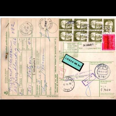BRD 1972, 8 Marken auf Paketkarte v. Holzen m. Schweden Porto-Formular
