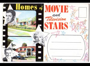 USA Schauspieler, Homes of Movie and TY Stars, Leporello Karte m. 13 Fotos