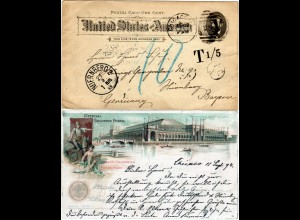 USA 1893, 1 C. Columbian Exhibition Ganzsache m. Bayern Portokontrolle Nürnberg