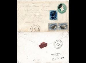 USA 1878, 5+Paar 1 C. auf 3 C. Ganzsache Brief v. Independence n. Deutschland