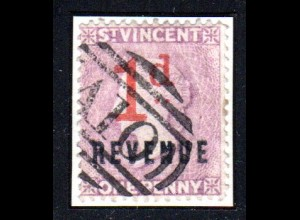St. Vincent, gebr. One Penny violett (Nrt. 32) m. rotem 1d u. REVENUE Aufdruck