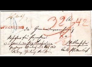 Baden 1850, roter L1 OFFENBURG auf Nachnahme Brief m. Botenlohn.