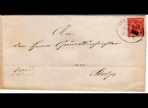 DR 1891, Bahnpost Stpl. STOLP-DANZIG ZUG --- klar auf Brief m. 10 Pf.