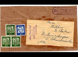 BRD 1961, Landpost Stempel 13b PIEGENDORF über Landshut auf Päckchenadresse