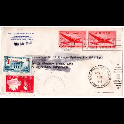 USA 1946, 2x5 C. auf Luftpost Brief m. Martinique Nachsendefrankatur